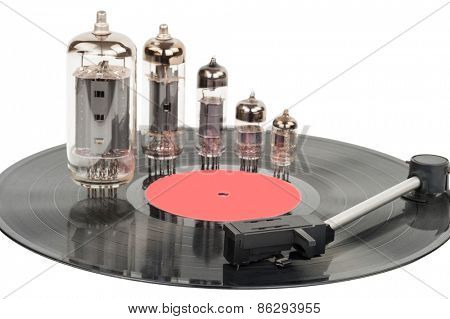 Vintage vacuum tubes with vinyl record