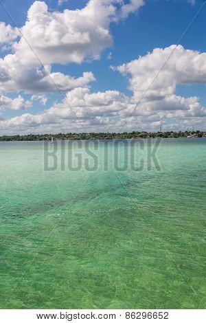Beautiful Sailing Adventure At Tranquil Bacalar Lake. Riviera Maya, Mexico. Tropical Travel.