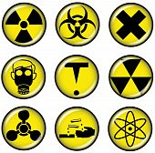 Circular symbols depicting danger and hazard signs poster