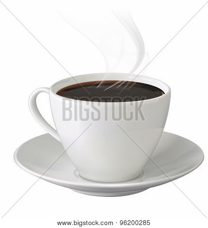 Cup Of Hot Coffee With Steam And Saucer On White Background. Vector Illustration