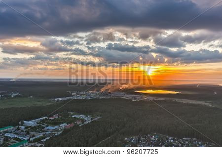 Aerial view above Vinzili. Russia