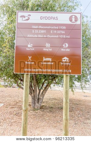 Gydo Pass Sign By The Road In Western Cape South Africa
