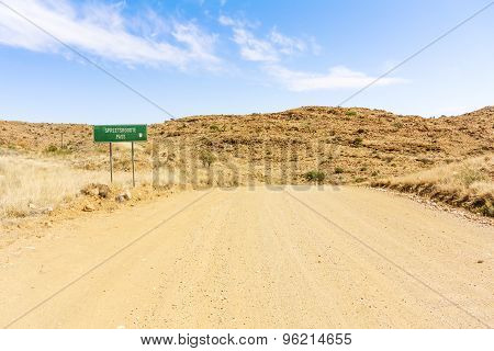 Road Sign For Spreetshoogte Pass  In Namibia