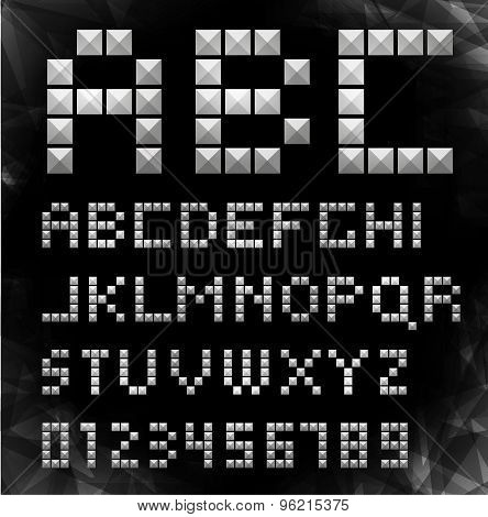 Vector silver pixel font with stud