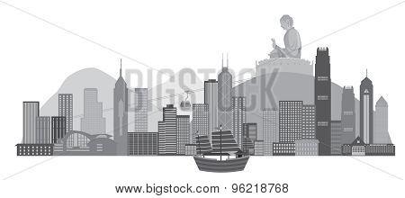 Hong Kong Skyline And Buddha Statue Illustration