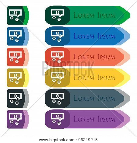 Currencies Of The World Icon Sign. Set Of Colorful, Bright Long Buttons With Additional Small Module
