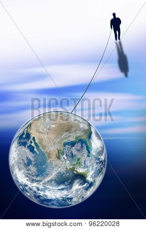 Man Connected With The World - Concept Image