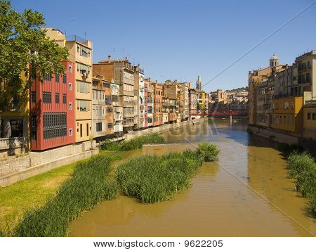 Colorful facades at Girona city with the Onyar river poster