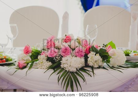 Gorgeous flowers on table in wedding day