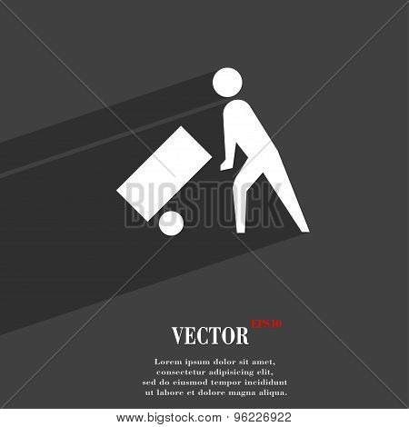 Loader Icon Symbol Flat Modern Web Design With Long Shadow And Space For Your Text. Vector
