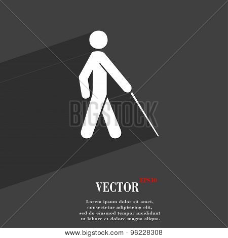 Blind Icon Symbol Flat Modern Web Design With Long Shadow And Space For Your Text. Vector