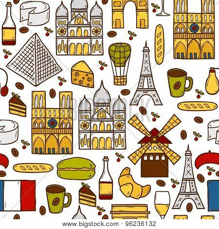 Seamless background with cute hand drawn cartoon shadow objects on Paris theme: eiffel tower, flag, moulen rouge, wine, croissant, macaroon. notre-dame. Travel concept for site, map poster