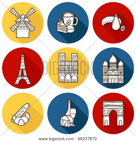 Set of cute hand drawn cartoon objects on Paris: eiffel tower, flag, moulen rouge, wine, croissant, macaroon. notre-dame. Travel concept for site, map, card poster