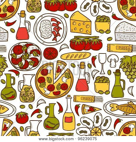 Seamless background with cute hand drawn cartoon objects on mediterranean cuisine theme: tomato, pas