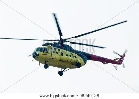 MI-8 helicopter flying