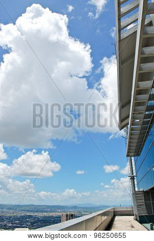Building Roof Deck Overlooking the City