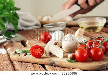 Food Ingredients For Pizza Or Spaghetti