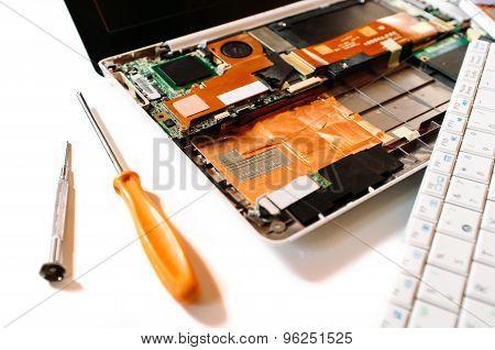 Closeup Photo Of The Broken Laptop