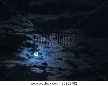 full moon under clouds