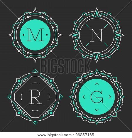 The set of stylish graceful monogram emblem templates. Vector illustration.
