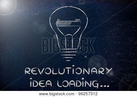 Revolutionary Idea Loading, Lightbulb With Progress Bar Illustration