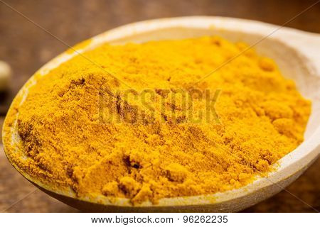 Close Up Of Measuring Spoon In Pile Of Organic Turmeric (curcuma) Powder