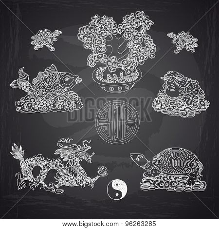Vector illustration set with Feng Shui motives.