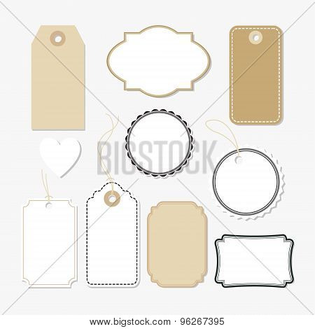 Set Of Various Blank Paper Tags, Labels, Isolated Vectors