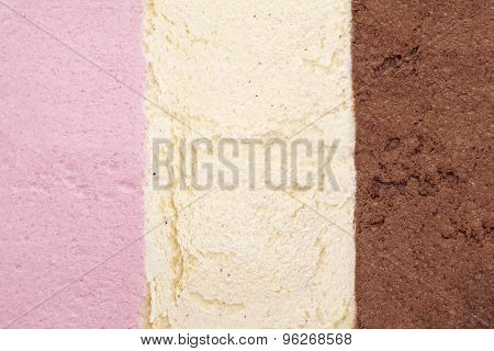 ice cream background with strawberry, vanilla and chocolate