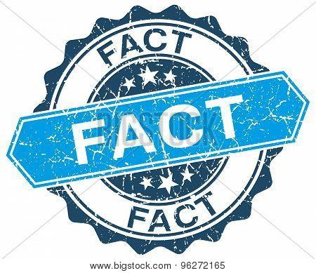 Fact Blue Round Grunge Stamp On White
