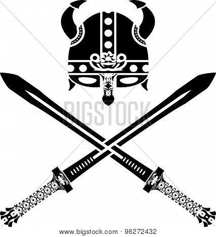 viking helmet and swords. second variant. vector illustration poster