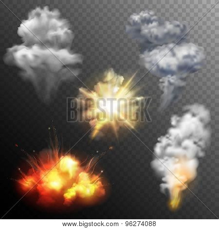 Firework explosions shapes set