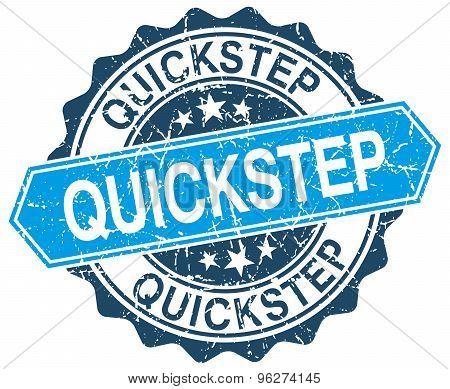 Quickstep Blue Round Grunge Stamp On White