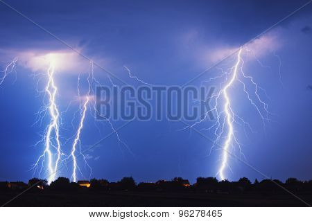 Multiple lightning strike at night