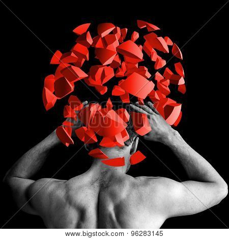 Strong Man With Red Brain Explosion On Black, 3D