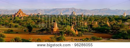 Panoramic Landscape View Of Old Temples In Bagan, Myanmar