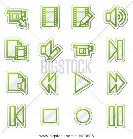 Vector web icons light green  sticker series poster