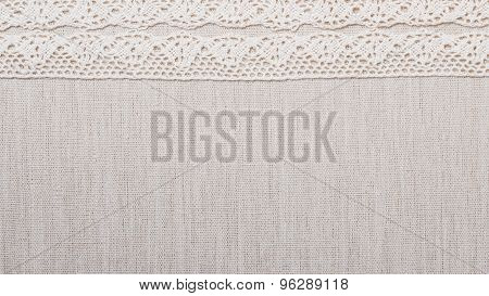 Lace Ribbon On Linen Cloth Background