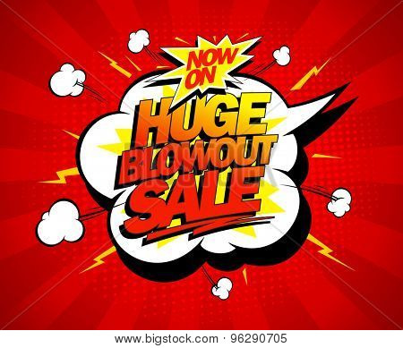 Huge blowout sale vector pop-art banner poster