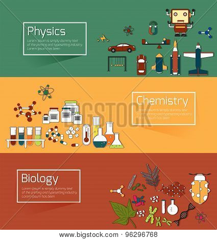 Science Education Infographic Banner Template Layout Such As Physics, Chemistry And Biology Backgrou