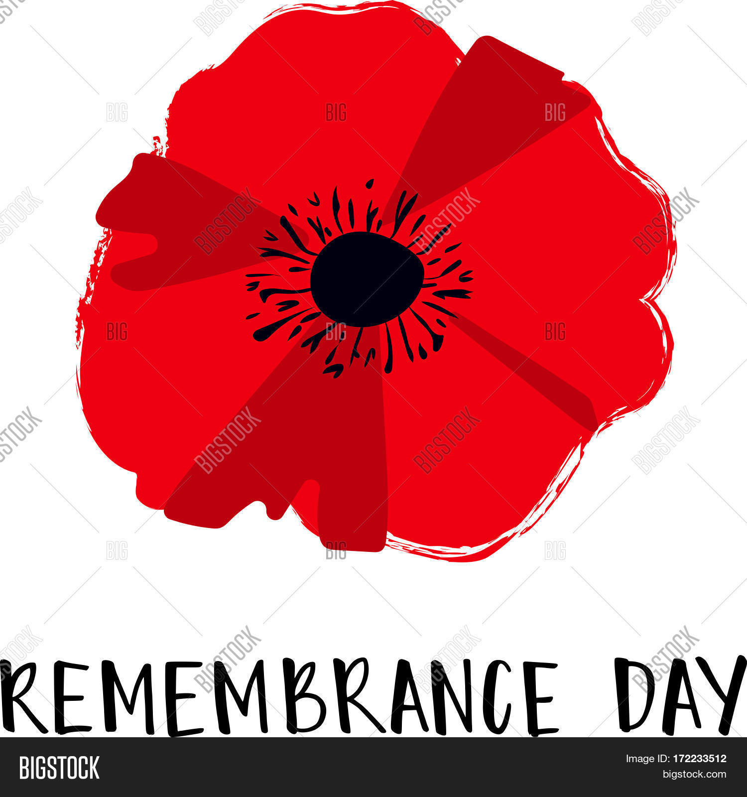 Vector illustration bright poppy vector photo bigstock vector illustration of a bright poppy flower remembrance day symbol remembrance day lettering buycottarizona