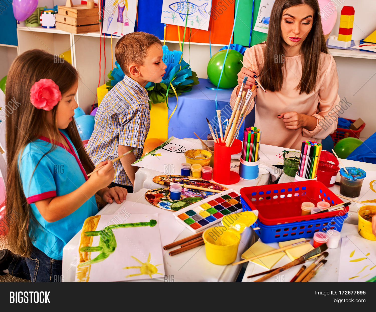 Children painting drawing kids club image photo bigstock for Craft work for class 3