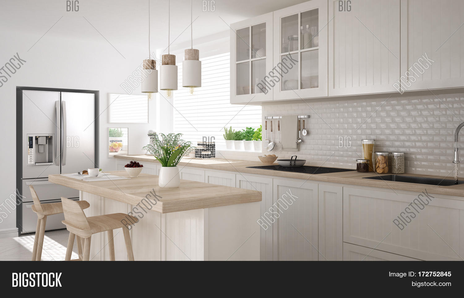 Scandinavian classic kitchen with wooden and white details minimalistic interior design 3d illustration