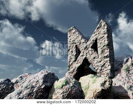 rune rock under cloudy blue sky - 3d illustration poster