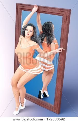 Woman in front of large mirror. Short light skirt and blouse. Conceptual fashion art. Long dark hair. Seductive candid pose. Photorealistic 3D render illustration. Studio, high key.