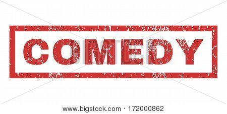 Comedy text rubber seal stamp watermark. Caption inside rectangular banner with grunge design and scratched texture. Horizontal vector red ink emblem on a white background.