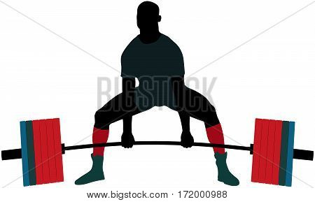 powerlifter exercise barbell deadlift in powerlifting competitions