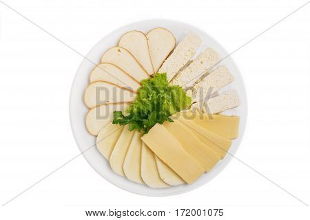 cheese assorted Georgian  traditional Georgian dish white background top view