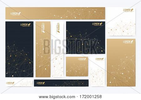 Scientific standard size banners. Geometric abstract presentation. Medical, science, technology, chemistry background molecule and communication. Cybernetic dots. Lines plexus. Card surface