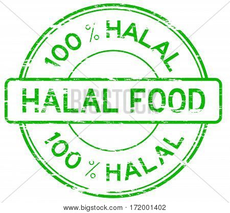 Green grunge 100 % HALAL food rubber stamp